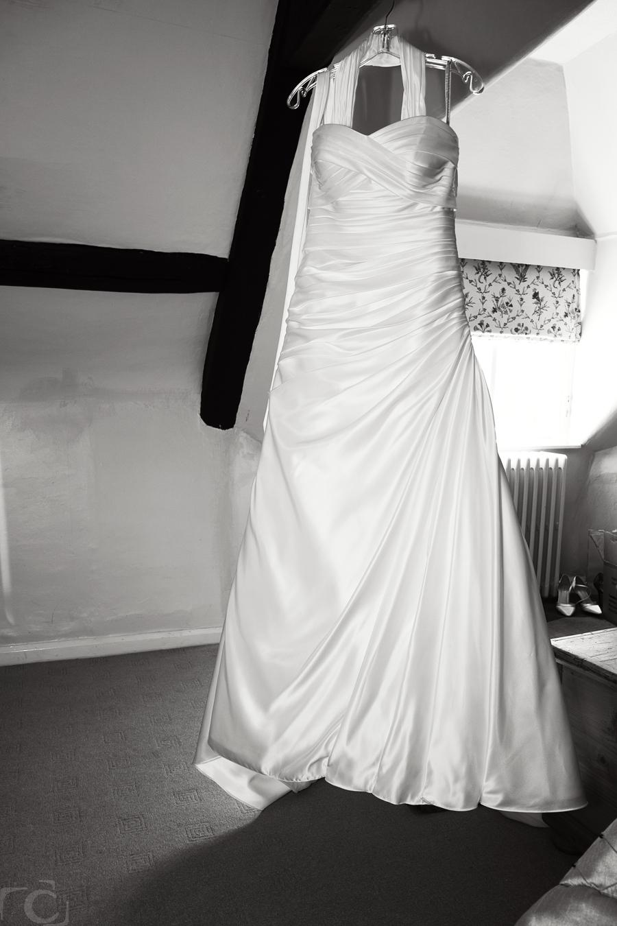 Weeding Dress Hanging up in Bridal room Wadenhoe House