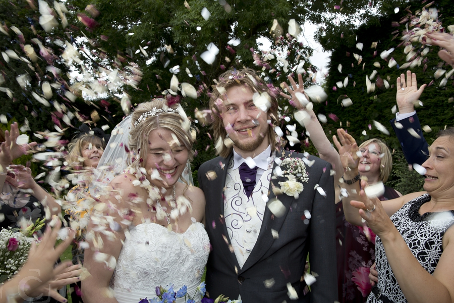 Wedding day confetti at The Bell Inn Hotel Stilton
